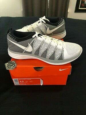 finest selection 988d2 e4f4f Nike Flyknit Lunar 2 Wolf Grey White DS sz 9.5 620465 100 trainer racer  supreme