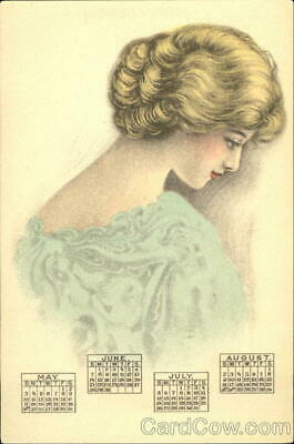 New Year Beautiful Lady Antique Postcard Vintage Post Card