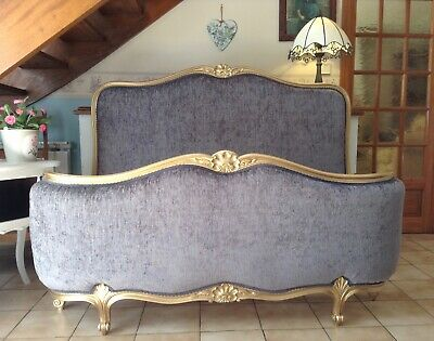 Stunning Vintage French Corbeille Double Bed Frame - Gold  - Grey Upholstery