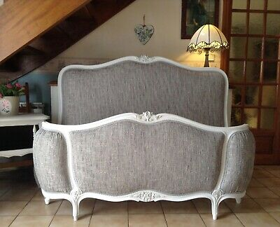Vintage French Demi Corbeille Double Bed Frame - White  - Flint Grey Upholstery