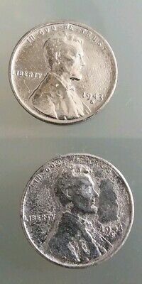 1943 S Steel Lincoln Wheat Cent Set. Circulated. 2 Coins