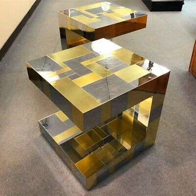 PAIR of Paul Evans for Directional Cantilevered Side Tables c1970s
