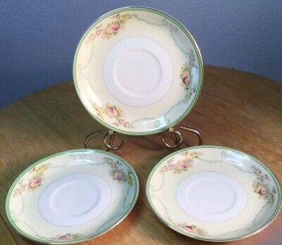 3 Formal Garden Meito 152 Cup Saucer Gold Nsp China Hand Painted