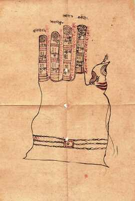 INDIAN ANTIQUE MANUSCRIPT Page With Tantra Mantra Folk Cow