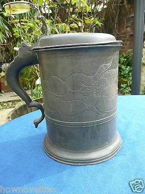Fine Engraved Antique Large Pewter Lidded Flagon Tankard Mug