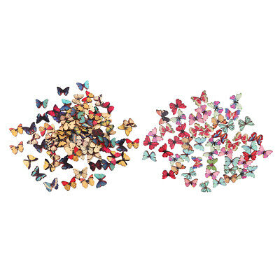 150Pcs 2 Holes Mixed Butterfly Wooden Button Sewing Scrapbooking DIY Craft