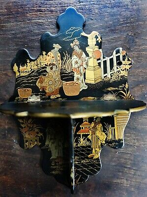 Antique Japanese 1850's oriental chinoiserie black lacquer folding shelf gold