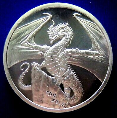 The Welsh Dragon 1 oz Silver Round #2 of World of Dragons Series !