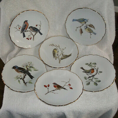 "6 Beautiful BAVARIA SCHUMANN ARZBERG GERMANY Bird Plates  7-3/8"" E&R 1886"