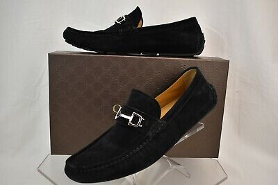 b204d8ff632 Gucci Black Suede Silver Horsebit 370593 Driving Moccasins Loafers 8.5 Us  9.5
