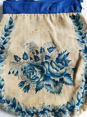 Antique early theorem purse on velvet, c.1830 roses, American  reticule