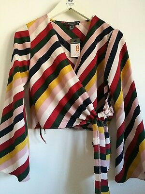 fdd729dd616488 Primark multi colours striped wrap tie blouse with bell sleeves UK size 8  EUR36