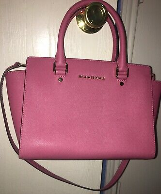 692643efd4cd MICHAEL KORS CAMILLE Tulip Pink Saffiano Crossgrain Leather Med ...