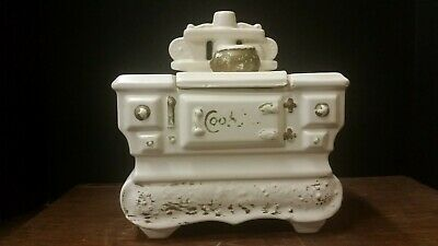 Vintage  McCoy Cookie Jar in the shape of Old Wood Stove in White