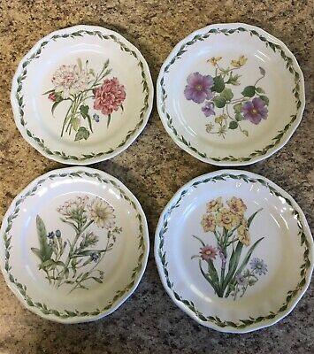 "4 NORITAKE CASUAL GOURMET ""GOURMET GARDEN"" FLORAL SALAD PLATES, 8 1/4"" Used"
