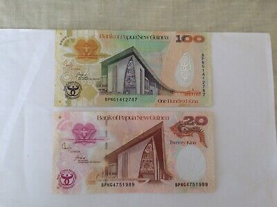 Papua New Guinea 20 & 100 Kina Paper Bank Note. Ideal For An Avid Note Collector