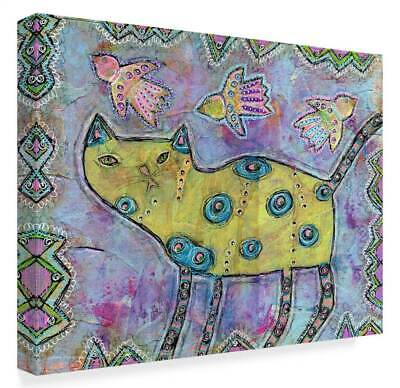 Funked Up Art 'Yellow Cat' Gallery Wrapped Canvas Art [ID 3769259]