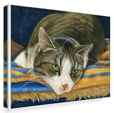 A Gray Cat On Blanket' Gallery Wrapped Canvas Art [ID 3769143]