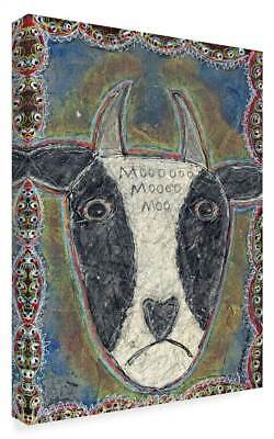 Funked Up Art 'Cow Head' Gallary Wrapped Canvas Art [ID 3769627]