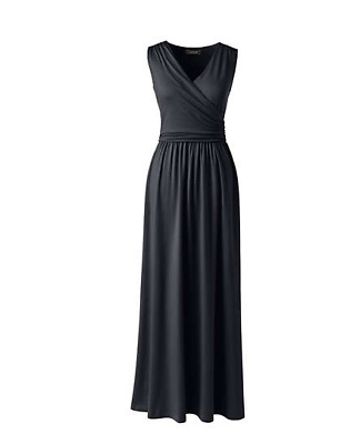 1f74bda450d Ladies Lands  End Petite Sleeveless Knit Surplice Maxi Dress Black PM  70