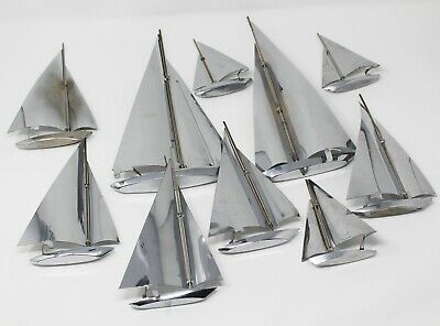 MCM Chrome Sail Boats 10 pc LOT Mixed Nautical Decor REPAIRS Mid Century 1960's