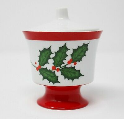 SEYEI Fine China Sugar Bowl Lid Christmas Holly Berries Red Green Vintage JAPAN
