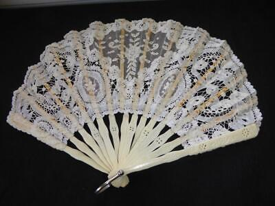 Antique Handmade Belgian Lace  Hand Fan
