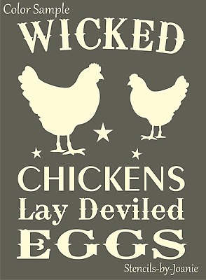 Joanie Stencil Wicked Chickens Lay Deviled Egg Farm Ranch Kitchen Funny Art Sign