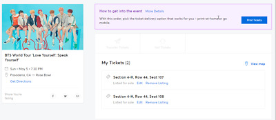 2 tickets BTS Speak Yourself Tour at Pasadena Rose Bowl Section 4H Row 44