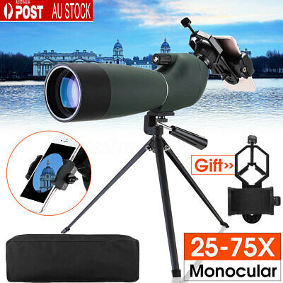 25-75X70 Waterproof Zoom Monocular BAK4 Spotting Scope With Tripod+Phone Adapter