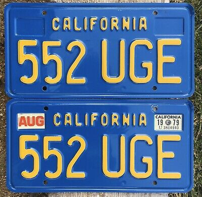 California License Plates 552 UGE 1970-1980 Year Of Manufacture DMV Clear Set