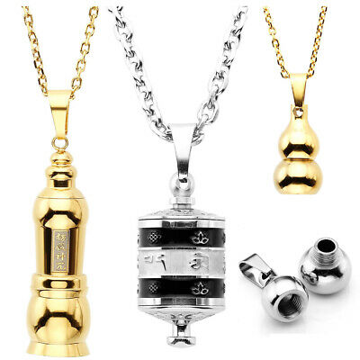 Stainless Steel Memorial Locket Cremation Ash Urn Holder Pendant Necklace Gift