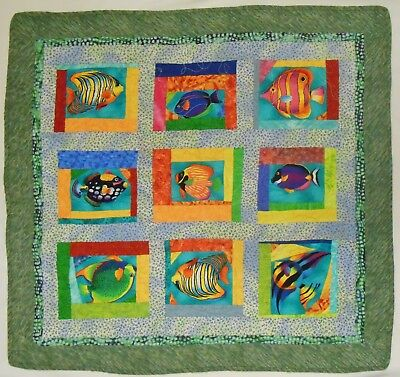 """TROPICAL FISH QUILT for Baby Play Mat or QUILTED WALL ART Sea Ocean Life 35x37"""""""