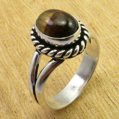 Size 6.75 Ring OXIDIZED 925 Silver Plated Authentic Tiger's Eye WHOLESALE PRICE