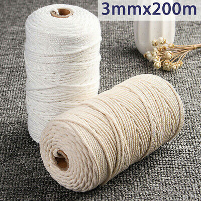 3mm-Macrame-Rope-Natural-Beige-Cotton-Twisted-Cord-Artisan-Hand-Craft-NEW AU