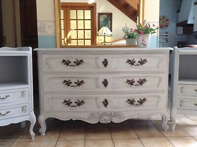 Large French Napoleon Chest Of Drawers - Solid Oak - Grey Painted And Dark Waxed