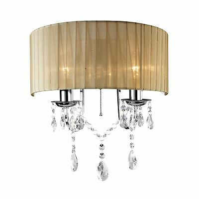 2 Light Switched Wall Lamp With Bronze Shade Polished Chrome Body,Crystal Decor