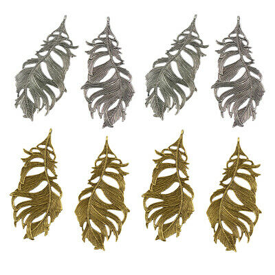 8 Pcs Silver & Gold Large Filigree Feather Necklace Pendant for Necklace DIY
