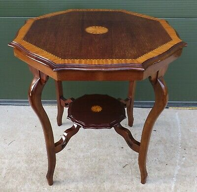 Antique Edwardian Inlaid Mahogany Serpentine Octagonal Centre Hall Table