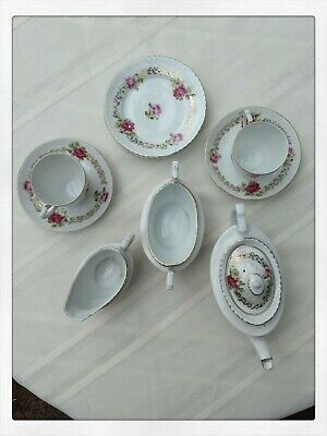 Vintage Children's Tea Set - rose & gold pattern.