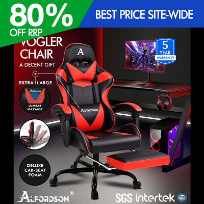 ALFORDSON Gaming Chair Office Executive Racing Footrest Seat PU Leather Red