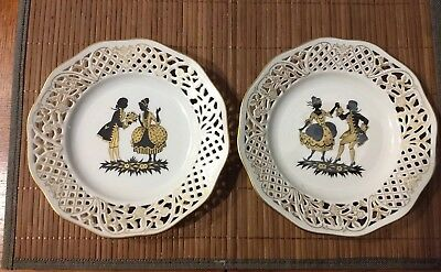 Schumann Bavaria Porcelain Plate, Courting Couple Gold Trim Motiv IV 9 1/4""