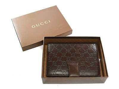 Authentic Gucci Web Brown GG Logos Pattern leather Agenda Notebook