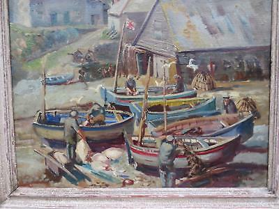 1930s CORNWALL OIL - CADGWITH COVE FISHING - LANDING THE CATCH BY WYN STRINGER
