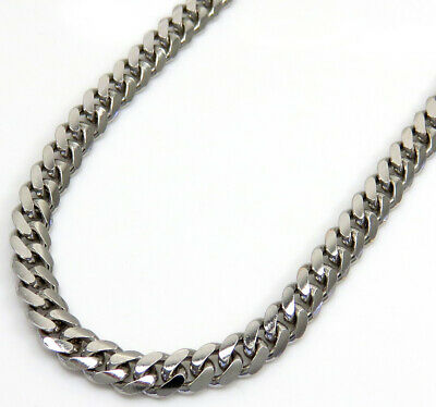 """Mens Womens 10K White Gold 2.7MM Miami Cuban Curb Link Chain Necklace 16"""" - 30"""""""