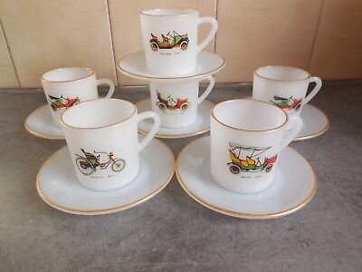 """6 Tasses A Cafe  Expresso Arcopal Vintage """" Tacots """" French Cups And Saucers"""