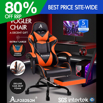 ALFORDSON Gaming Chair Office Executive Racing Footrest Seat PU Leather Orange