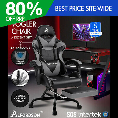 ALFORDSON Gaming Chair Office Executive Racing Footrest Seat PU Leather Grey