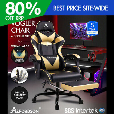 ALFORDSON Gaming Chair Office Executive Racing Footrest Seat PU Leather Gold