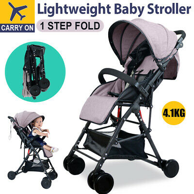 Compact Baby Pram Stroller Lightweight Foldable Pushchair Travel Carry On Plane